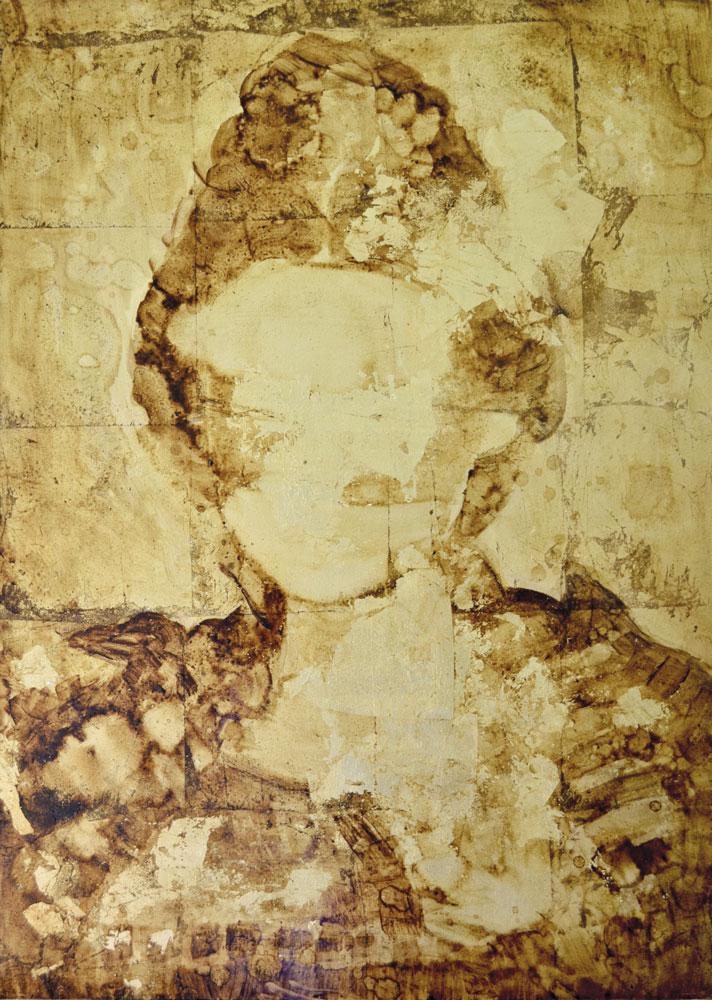 MARTINATO LARA, Onna Bugeisha 2, 2018, olio e foglia oro su gesso e tela,70x60cm