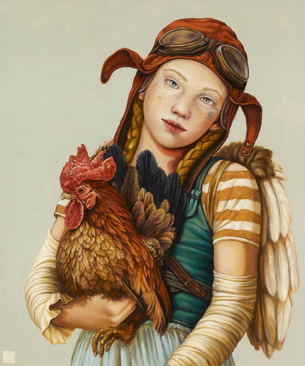 GIRAUDO CLAUDIA; Bimba aviatore con gallo, 2018, olio su tela, 60 x 50 cm