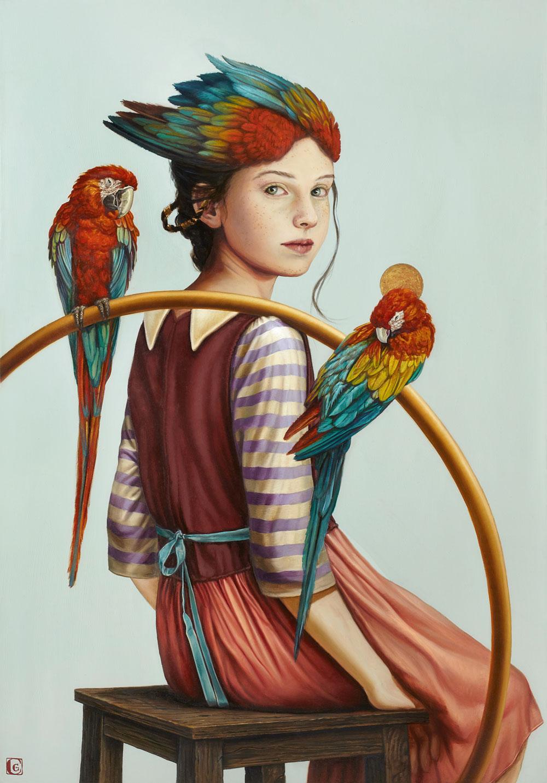 GIRAUDO CLAUDIA, Giovane adolescente con due pappagalli, 2018, olio su tela, 100 x 70 cm