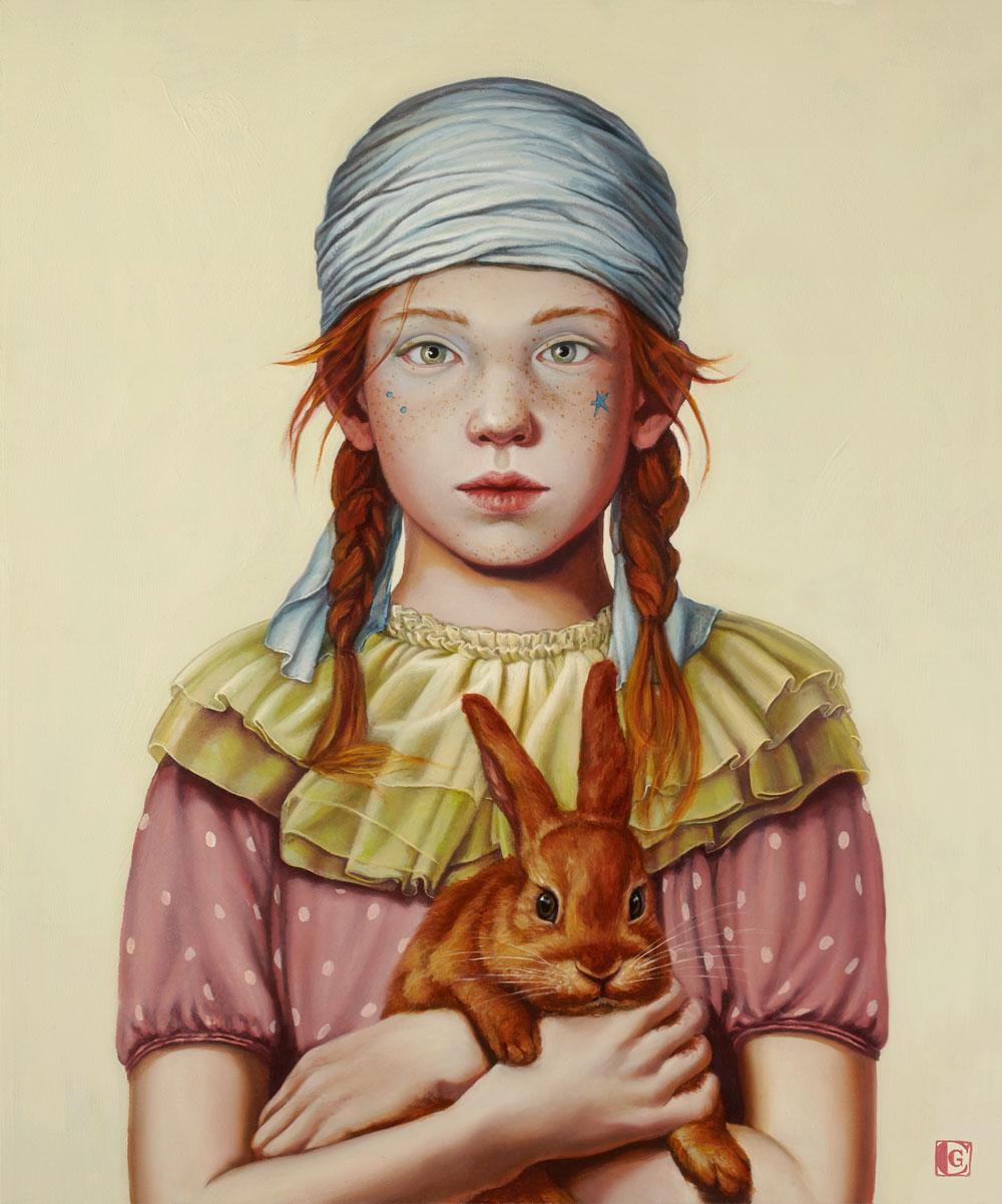GIRAUDO CLAUDIA, Segui il coniglio rosso, 2018, olio su tela, 60 x 50 cm