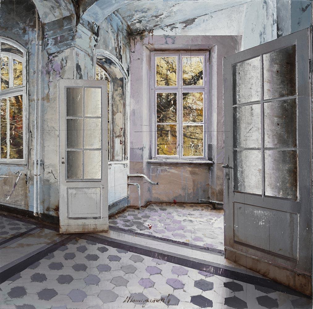 MASSAGRANDE MATTEO, Il corridoio, tecnica mista su tavola, 20x20 cm