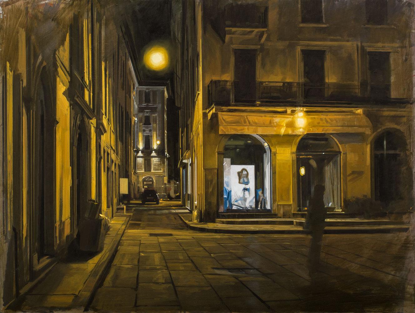 NANNINI NICOLA, Notte gialla n.2, 2019, olio su tavola, 60x80 cm