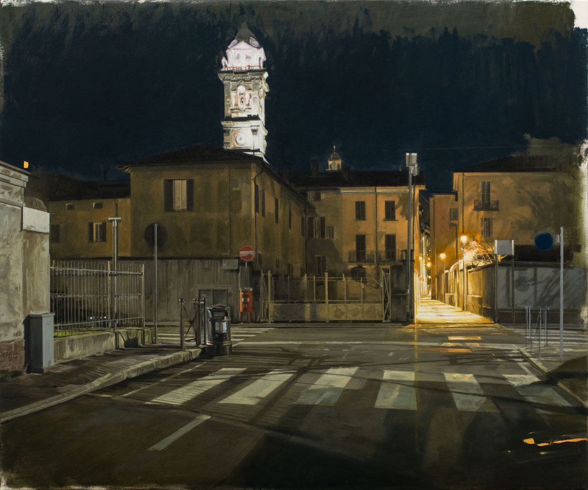 NANNINI NICOLA, Notte, nessuno in giro, 2019, olio su tela, 100x120 cm