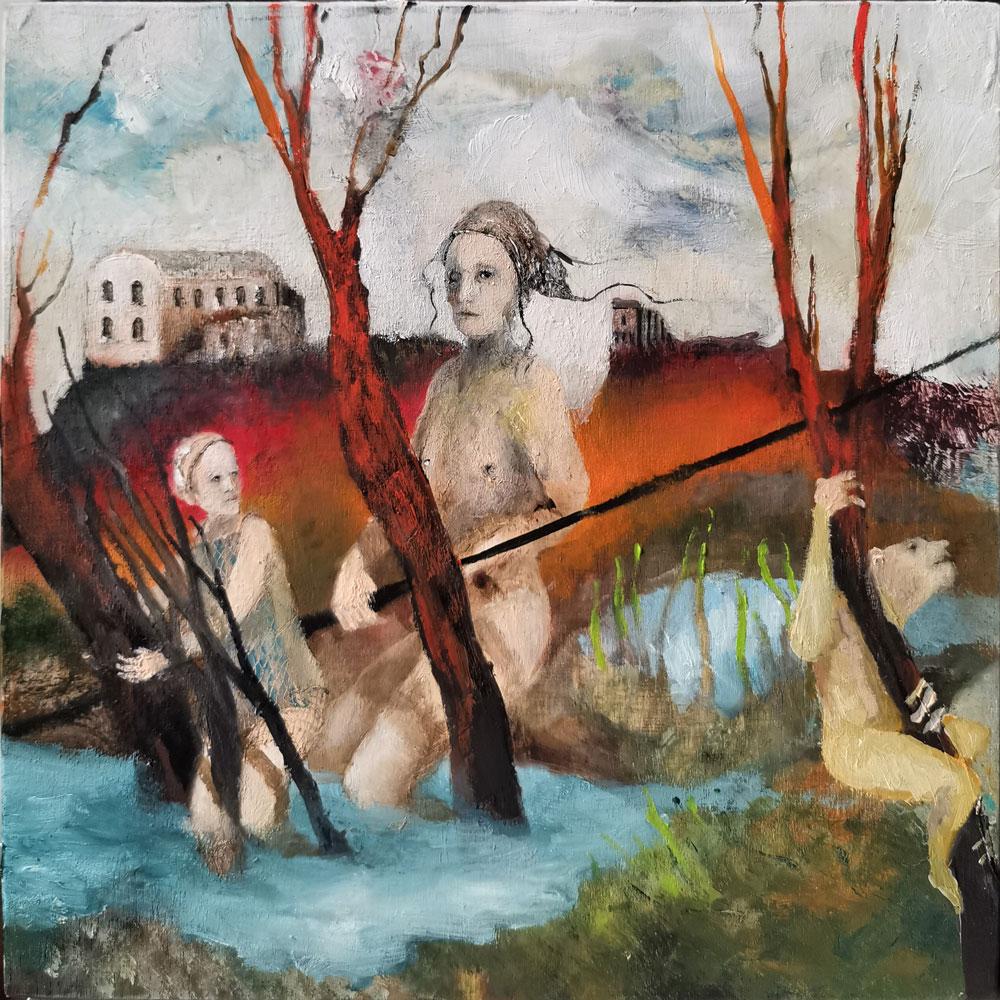 PADOVANI SERGIO, Il giudizio del volgo, 2019, Olio, bitume, resina su tavola, 20x20 cm