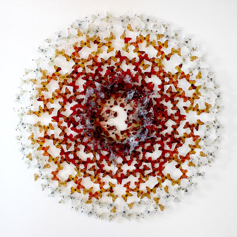 ANNALÙ, Dreamcatcher 42, 2017, resine, carta, inchiostri, cenere, 130 ø x 15 cm