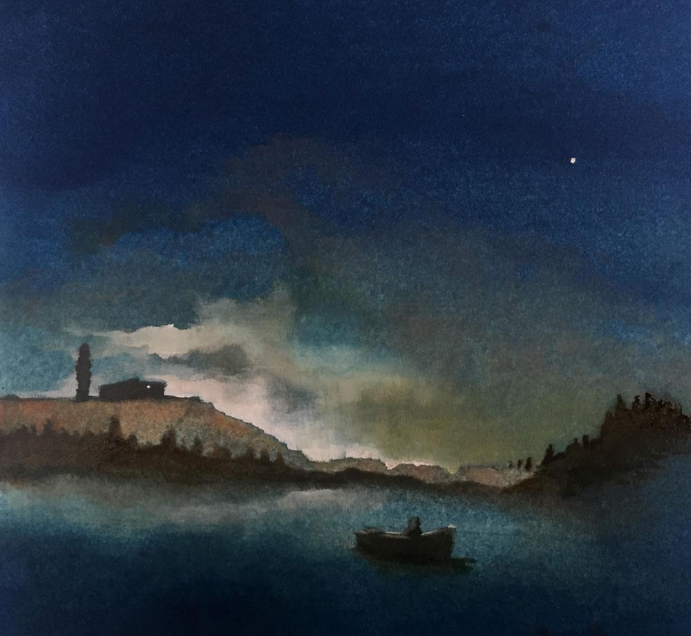 GASTALDO LUCA, Desiderio di casa, 2017, tecnica mista su carta, 30x30 cm