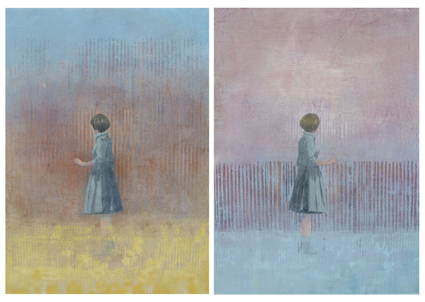 INFANTE FEDERICO, A recurring dream II, 2017, acrilico su tela, 2 pz., 78 x 114 cm