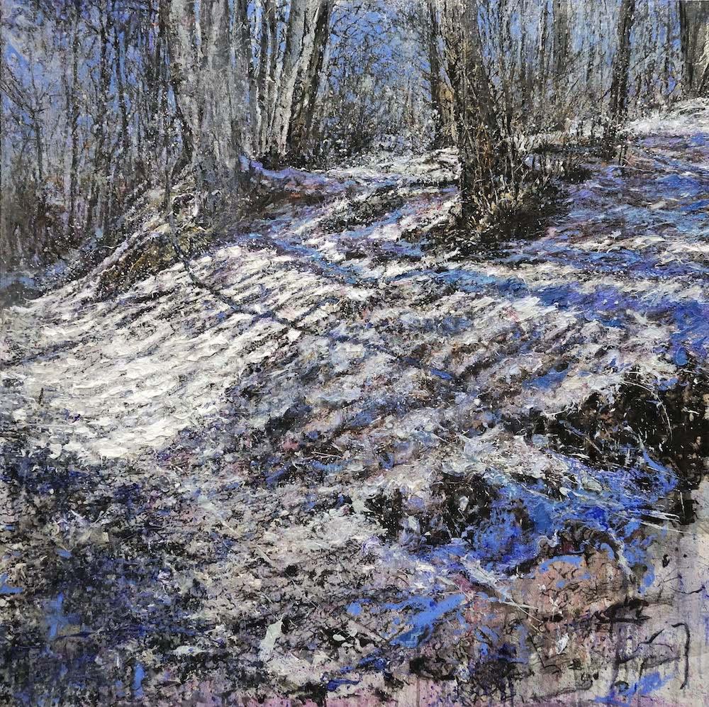 MINOTTO RAFFAELE, A486, Luce dell'inverno, 2016, olio su tavola, 100 x 100 cm