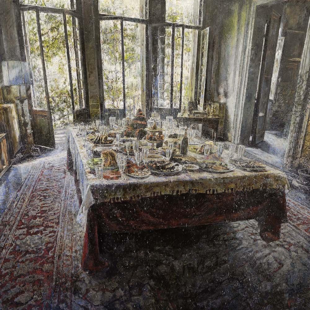 MINOTTO RAFFAELE, A582, Luci dopo la festa, 2019, olio su tavola, 150 x 150 cm